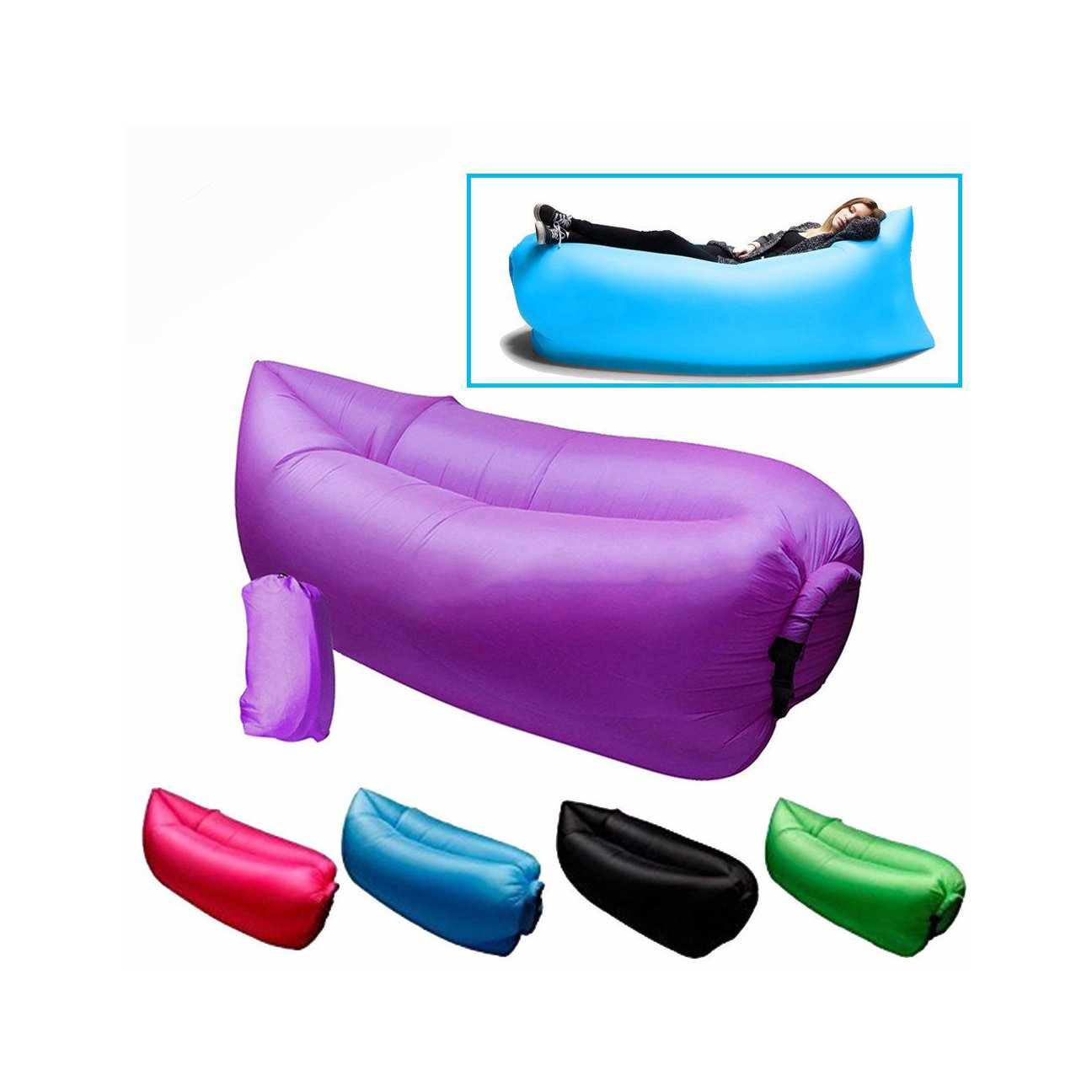 Lazy Bag Inflatable Portable Pumpless Air Bed Barter Hutt